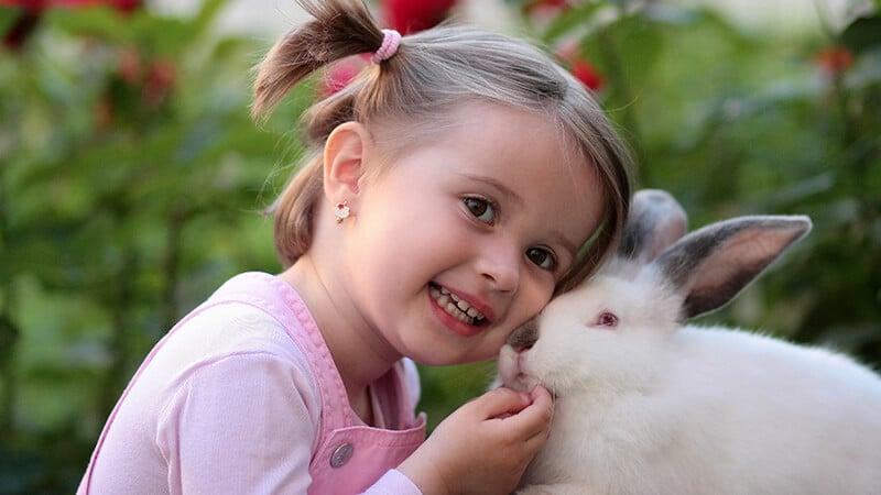 Foto foto bayi lucu - Anak kecil dan kelinci