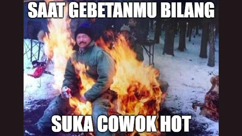 Meme Lucu buat Komen - Meme Pria Terbakar