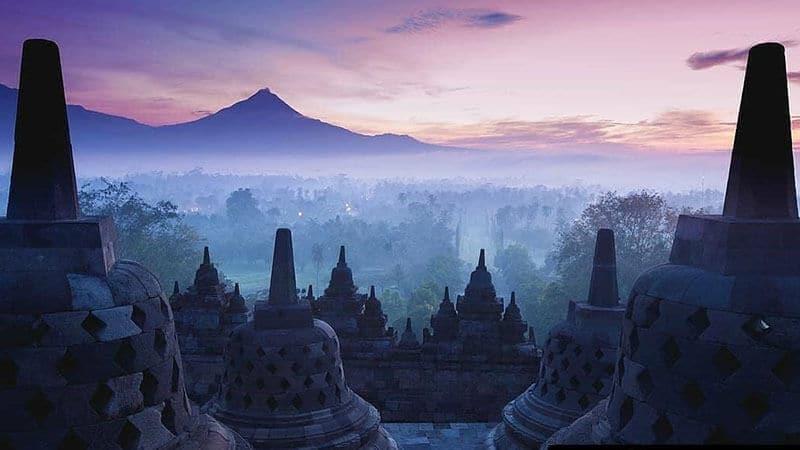 Tempat wisata Candi Borobudur - Pemandangan sore