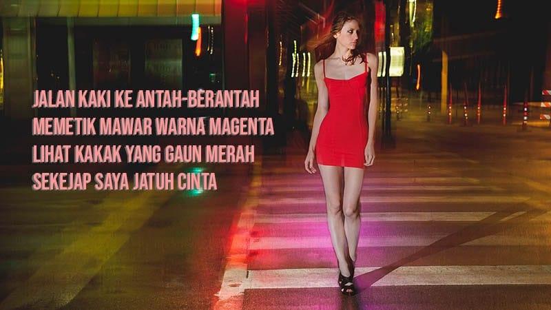 pantun cinta untuk nembak pacar - gaun merah