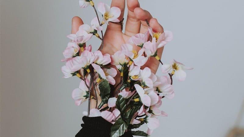 Kata-Kata Baper Buat Pacar - Bunga Pink di Tangan